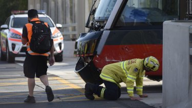 The tram was derailed after being hit by a car in inner Sydney.
