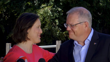 Prime Minister Scott Morrison with Ms O'Dwyer at the announcement of her departure.