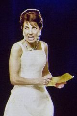 A hologram of Maria Callas gesturing on stage during a concert in Berlin in  2019.