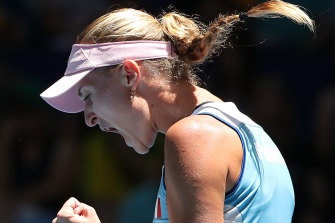 Kristina Mladenovic celebrates.