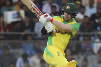 David Warner in action for Australia during the ODI win over India.