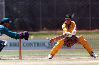 Australian captain Belinda Clark playing against New Zealand at Bankstown Oval in 1997.