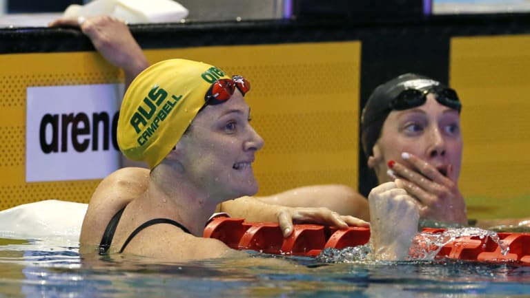 Triumph: Cate Campbell reacts after winning the women's 100m freestyle final at the Pan Pacs in Tokyo.