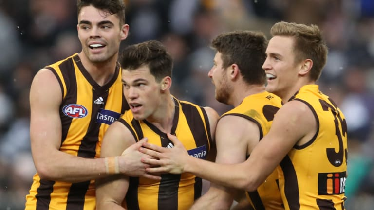 The winner: Jaeger O'Meara (second from left) after booting the final goal.