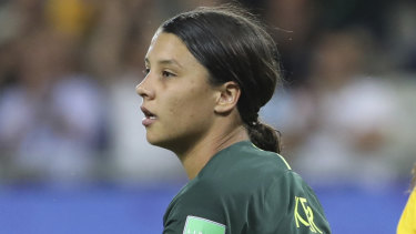 Super Sam: Kerr scored all four of Austyralia's goals against Jamaica.