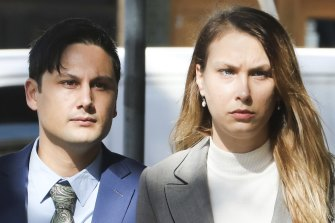 Blake Davis and Hannah Quinn arrive at the Supreme Court Darlinghurst for a sentence hearing on Friday.