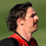 Joe Daniher running at Essendon training on Tuesday, a sight for many sore eyes among the Bombers faithful.