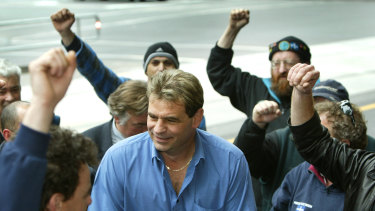 An early court case: John Setka as a union organiser at the Melbourne Magistrate's court in 2003.