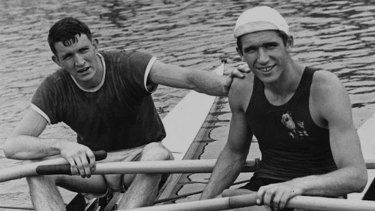 Sam Mackenzie, with his archrival and lifelong friend, triple Olympic champion Vyacheslav Ivanov (circa. 1960).