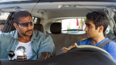 Dave Bautista, left, and Kumail Nanjiani in the tediously unfunny Stuber.