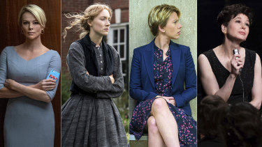 Oscar nominees for best actress, from left, Charlize Theron in Bombshell, Saoirse Ronan in Little Women, Scarlett Johansson in Marriage Story, Renée Zellweger in Judy, and (not pictured) Cynthia Erivo in Harriet.