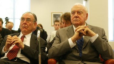 May well they despair ... speechwriter Graham Freudenberg with former prime minister Gough Whitlam in 2005.