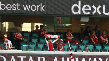 Taking a stand: A small crowd was in attendance as the Swans took on the Bombers at the SCG on Sunday.