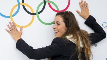 Climbing the walls: Italian skier Sofia Goggia smiles after IOC president Thomas Bach announced Milan-Cortina as the winner.