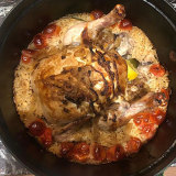 Perfect winter lockdown dish: roast chook on baked rice…Karen Martini nails it again…seriously bloody good.