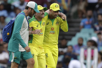 David Warner had to be helped from the field after suffering an adductor injury on Sunday night.