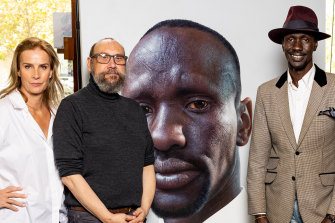 Actor and presenter Rachel Griffiths,Nick Stathopoulos and Deng Adut in Finding The Archibald.