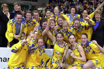 The Swifts celebrate their national league win in 2001.