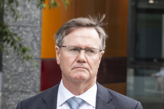 Former Tennis Australia president Stephen Healy outside the Federal Court on Monday.