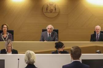 Commissioners Lindy Jenkins, Neville Owen and Colin Murphy on day one of the Perth Casino Royal Commission.