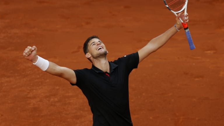 Big win: Thiem celebrates after shocking the Spaniard.