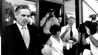 Kimbal Cook and his wife Diana outside the ICAC building in February 1994.