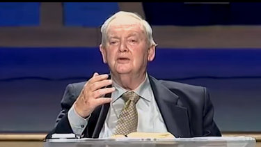 Neil Thomas delivering a YouTube sermon before he died, entitled 'God Loves The World'.