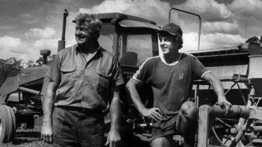 Jim Daniher, pictured on his farm, with fourth son Chris in 1984.