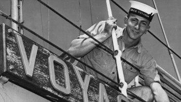 """Able Seaman Herbert Jacobson, of Dubbo, New South Wales, helps keep H.M.A.S. Voyager """"ship shape"""", 1961."""
