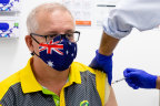 Prime Minister Scott Morrison receives his 2nd Pfizer vaccination at Castle Hill Medical Centre, Sydney, in April.