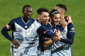 SYDNEY, AUSTRALIA - AUGUST 08: Marco Rojas of the Victory celebrates after scoring a goal during the round 25 A-League match between the Perth Glory and the Melbourne Victory at Netstrata Jubilee Stadium on August 08, 2020 in Sydney, Australia. (Photo by Jason McCawley/Getty Images)