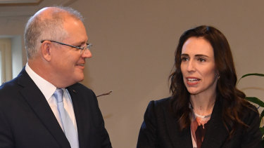 Prime Minister of Australia Scott Morrison (left) and Prime Minister of New Zealand Jacinda Ardern meet in Melbourne in July 2019.