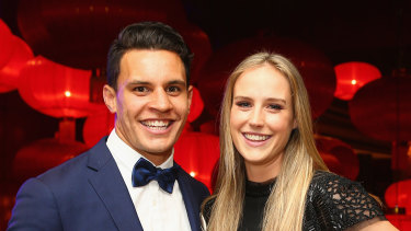 Happier times: Ellyse Perry and her husband Matt Toomua at the 2016 Allan Border Medal ceremony in Melbourne.