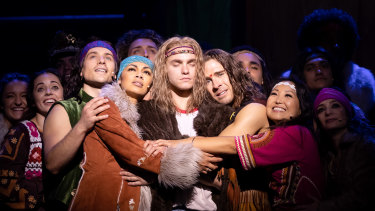 Hugh Sheridan, Prinnie Stevens and Matt Manahan star in Hair at the Sydney Opera House.