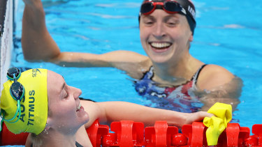 Ariarne Titmus and Katie Ledecky are exhausted after their epic duel in the pool in the 400m final.