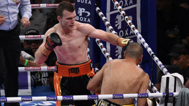 All over: Anthony Mundine is knocked down by Jeff Horn.