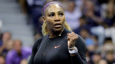 Centurion: Serena Williams celebrates after making short work of Qiang Wang.