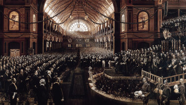 The Charles Nuttall painting of the opening of the first Federal Parliament, May 9, 1901 at the Melbourne Exhibition Buildings.