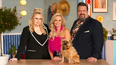 Pooch Perfect host Rebel Wilson with judges and professional dog groomers Amber Lewin and Colin Taylor. The format has been sold to Beyond International.