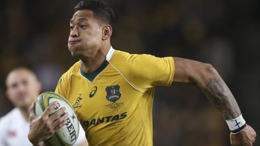 Gone: Israel Folau in action for Australia in 2016.