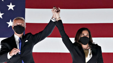 A campaign like no other ...  Democratic presidential nominee Joe Biden and his vice-presidential nominee, Kamala Harris, at the party's national convention on Thursday.