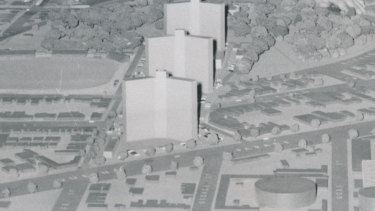 A model of the multi-storey flats planned for the cleared site in Fitzroy.