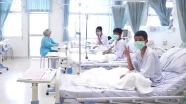 Members of the Wild Boars football team in hospital after their rescue.