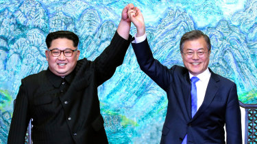 """Kim Jong-un and Moon Jae-in vowed """"complete denuclearisation"""" of the Korean peninsula."""