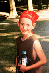 Nine-year-old Elliot  rocking the Y2K  bandanna craze.