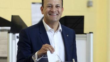 Irish Prime Minister Leo Varadkar vasts his vote.