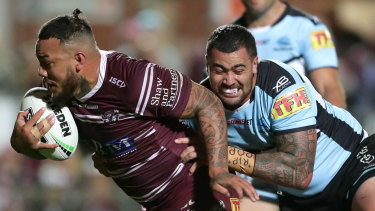 Big boppers: Addin Fonua-Blake was a crucial link for an undermanned Manly side.