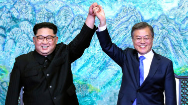 "Kim Jong-un and Moon Jae-in vowed ""complete denuclearisation"" of the Korean peninsula."