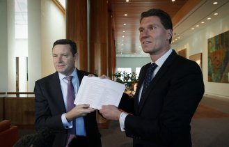 Lyle Shelton presents then-Senator Cory Bernardi with a petition during the same-sex marriage survey in 2017.