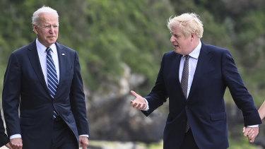 US President Joe Biden talks with Prime Minister Boris Johnson in Carbis Bay, Cornwall, Britain, ahead of the G7 summit.